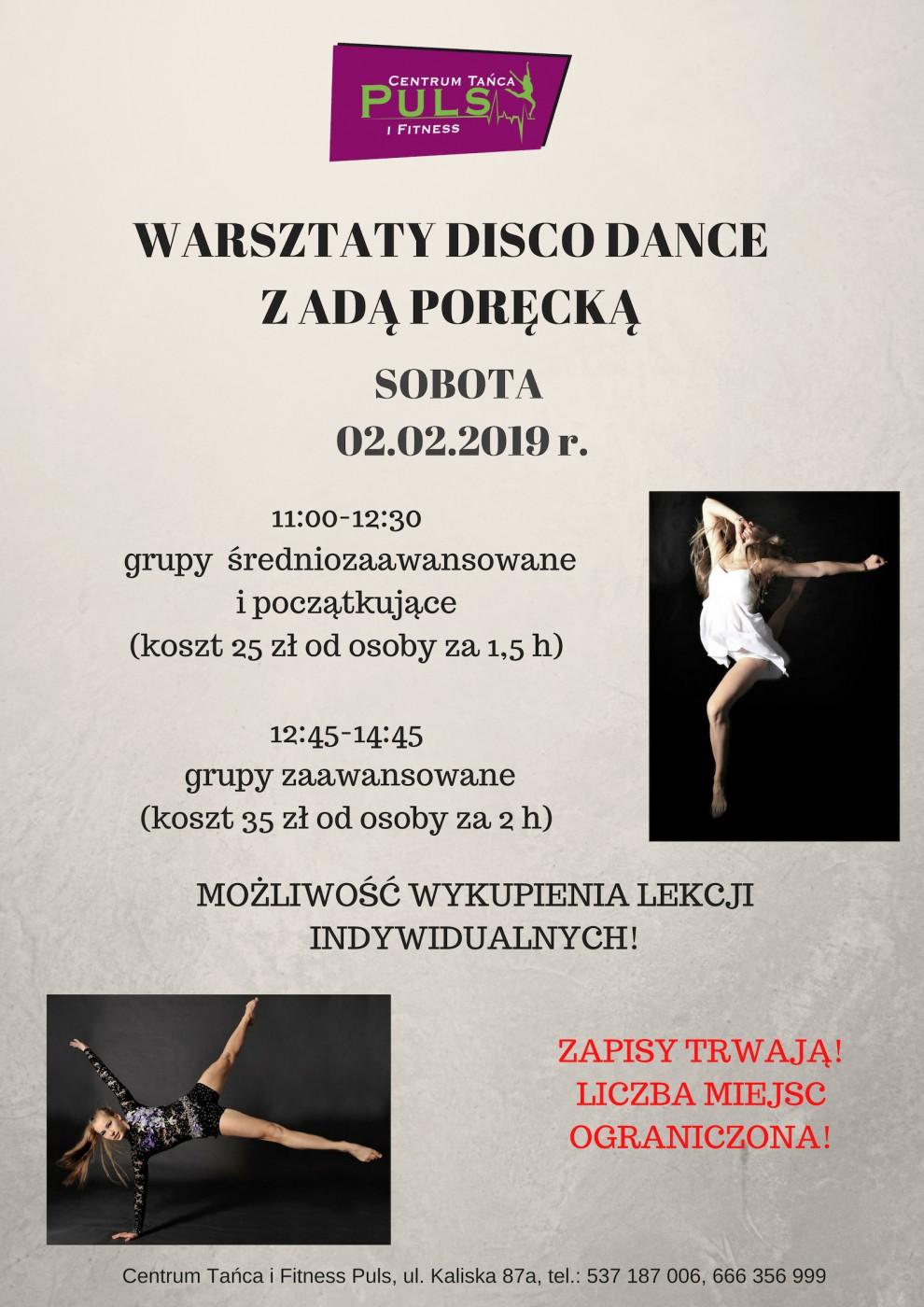 Warsztaty disco z Adą Poręcką – ZAPISY TRWAJĄ!