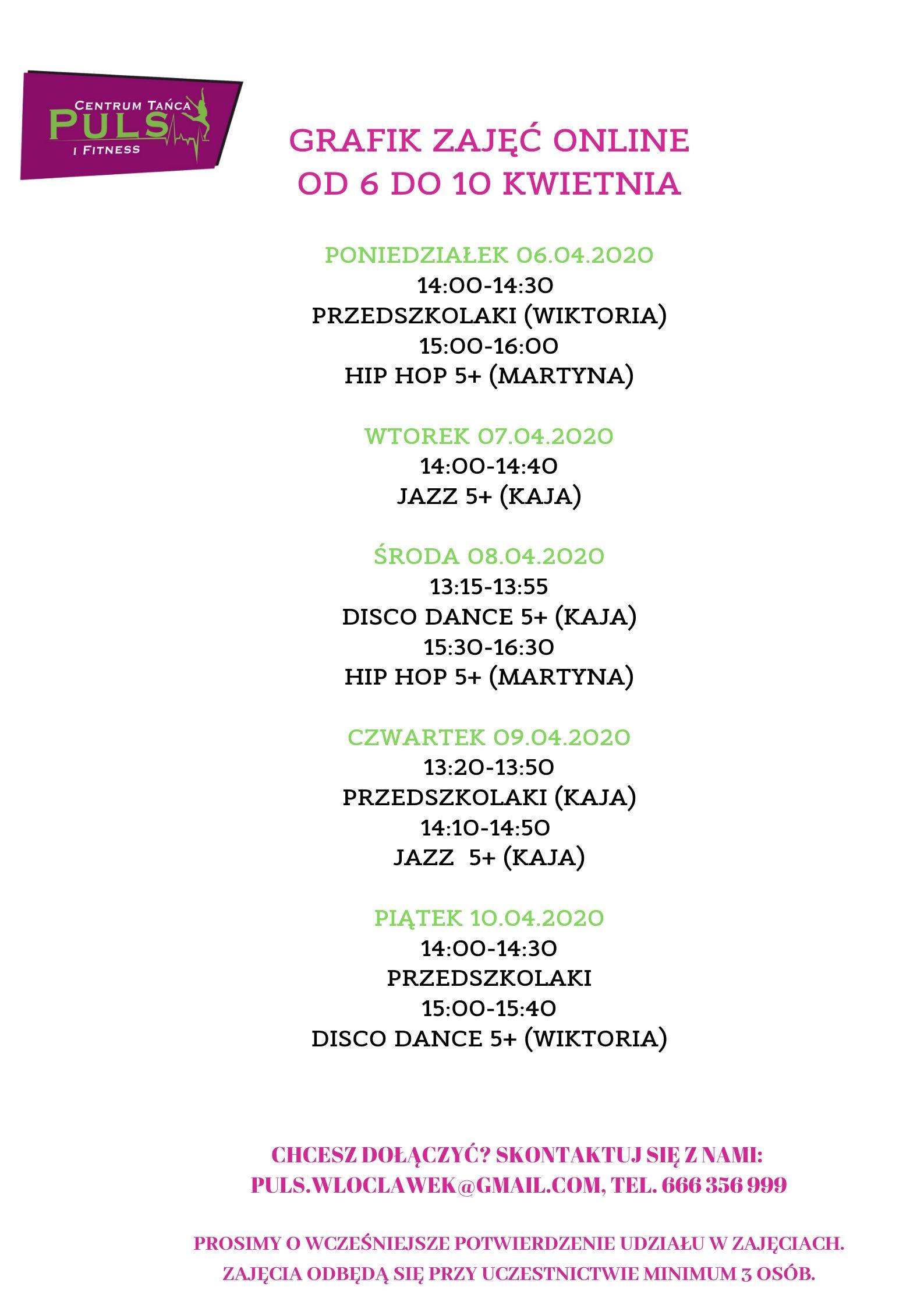 Grafik zajęć tanecznych online