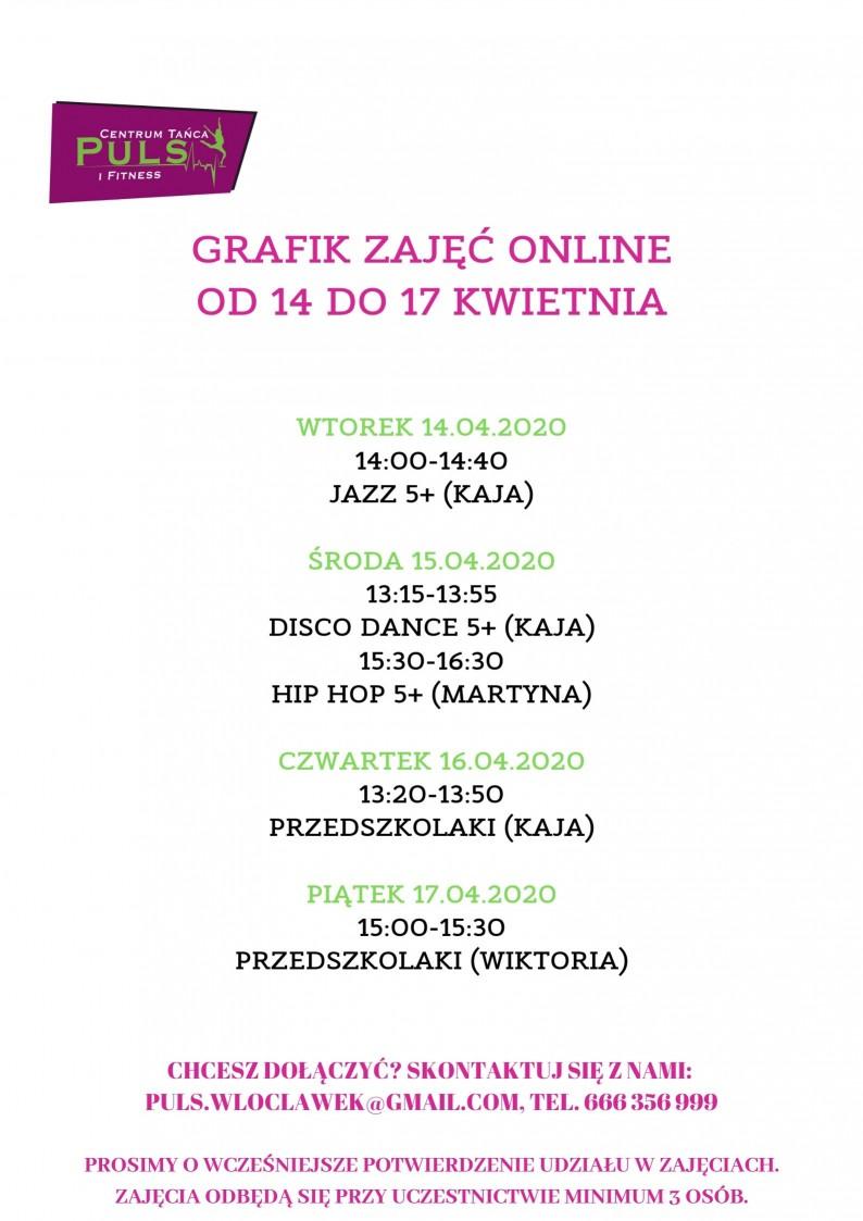 Grafik tanecznych zajęć online (14.04-17.04)