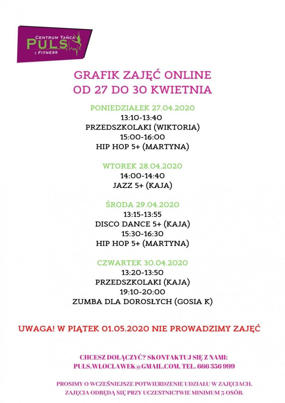 Grafik zajęć online (27.04-20.04)