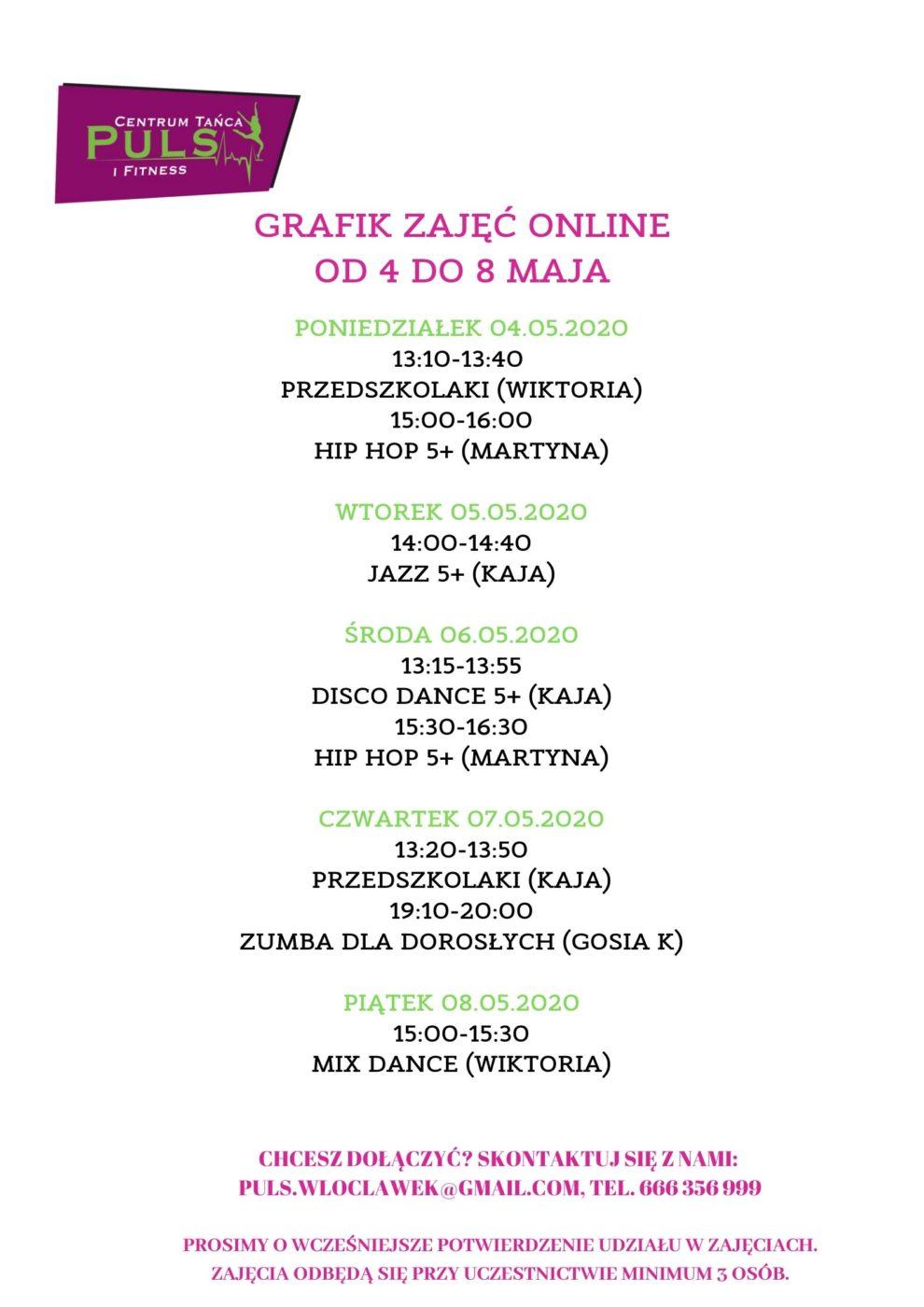 Grafik zajęć online (04-08.05)