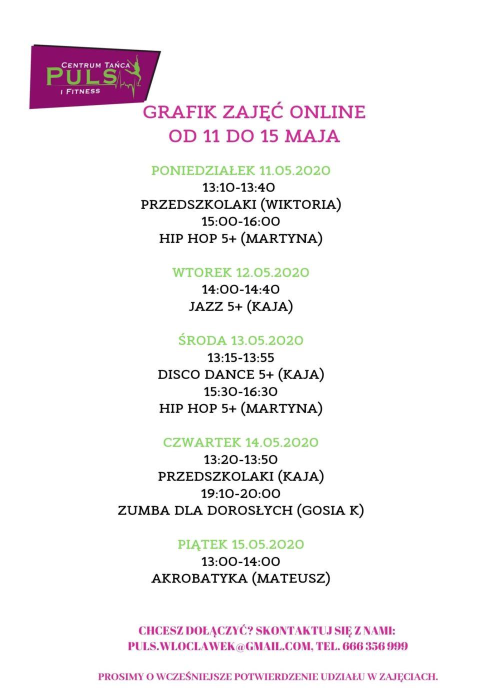 Grafik zajęć online od 11.05 do 15.05