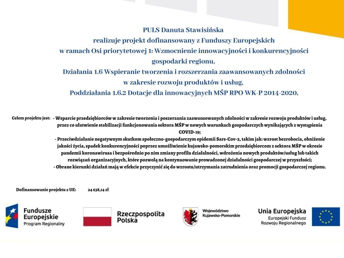 Puls Danuta Stawisińska realizuje projekt dofinansowany z Funduszy Europejskich